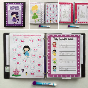 Fairy Dry Erase Busy Book/Quiet Book, Personalized, custom, Preschool Learning, name tracing, unique gift, travel games, alphabet, math game