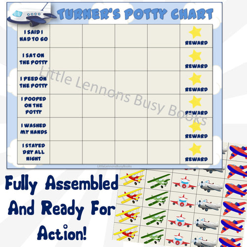 Airplane Potty Chart, personalized, FULLY ASSEMBLED, potty training chart, Reward Chart, daily schedule, behavioral chart, boy potty chart