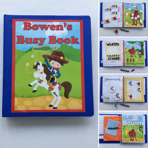 Cowboy Toddler Dry Erase  Activity Book, Personalized Busy Book, Quiet Book, Busy Bags, Educational Toy, age 1-4 years, travel games