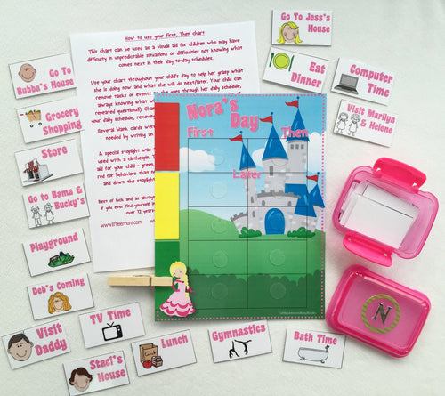 First, Then Chart Daily schedule chart, princess, customized for your needs, Help children transition, stoplight behavioral chart