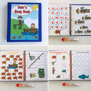 Fishing Preschool Dry Erase  Activity Book, Personalized Busy Book, Quiet Book, Busy Bags, Educational Toy, ages 3-5, travel games, hands on