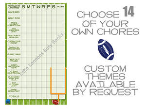 Football Weekly Chore Chart, 14 customizable chores, dry erase, customized chore chart, reward chart, weekly schedule, behavior chart