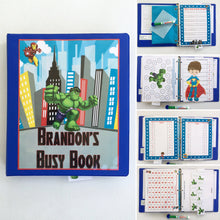 Superhero Personalized Busy Book, Custom Quiet Book, Dry Erase  activity book, ages 3-4, Pre-reading, math practice, PreK, travel game