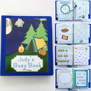 Camping Personalized Busy Book, Quiet Book, Dry Erase/ activity book, kindergarten, custom, Educational Toy, ages 1-7, travel games