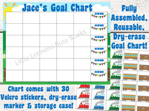 Dry Erase Train Goal Chart, personalized, blank, FULLY ASSEMBLED, trains theme, Reward Chart, behavioral chart, goal chart, reward system