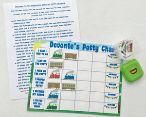 Train Potty Chart, personalized, FULLY ASSEMBLED, trains theme, Reward Chart, hook and loop