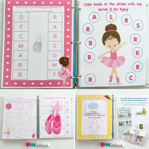 Ballet Toddler Personalized Busy Book, Quiet Book, Dry Erase/ activities, Preschool, Educational Toy, age 2-3, reusable activity book