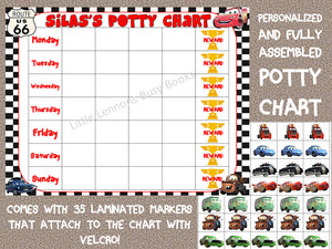 Potty Chart Cars Themed, Days of the Week, laminated chart, daily schedule, reward chart, behavioral chart, kids chart, daily chart, chore