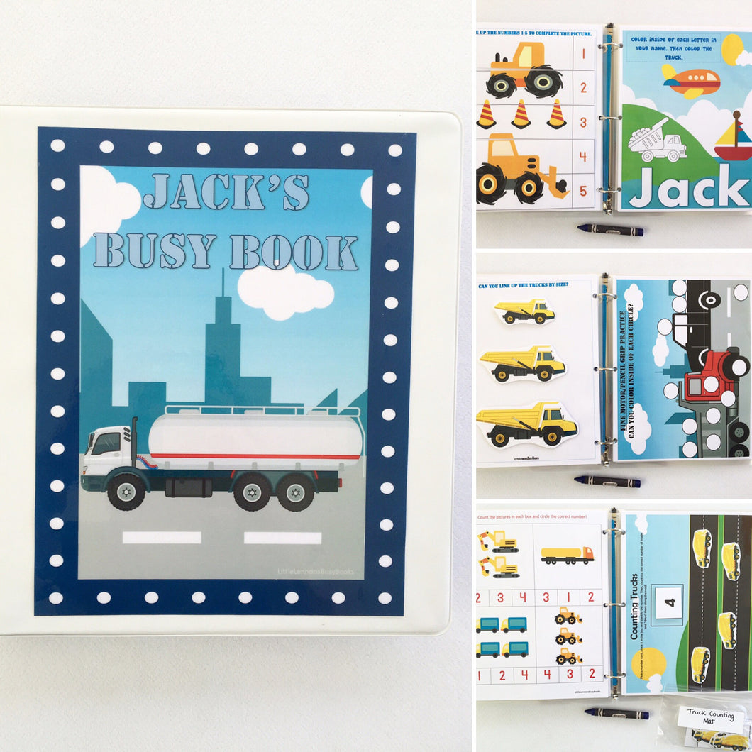 Toddler Trucks Personalized Busy Book, Dry Erase Activity book, Customized, Educational toy, travel toys, busy bag, teacher, learning binder