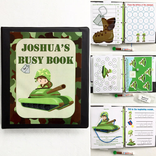 Army Guy Personalized Busy Book, Quiet Book, Dry Erase/ activities, Preschool, Educational Toy, preK, reusable activity book, travel