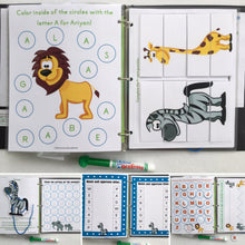 Jungle Animal Personalized Busy Book, Quiet Book, Dry Erase/ activities, Preschool, Educational Toy, reusable activity book, travel