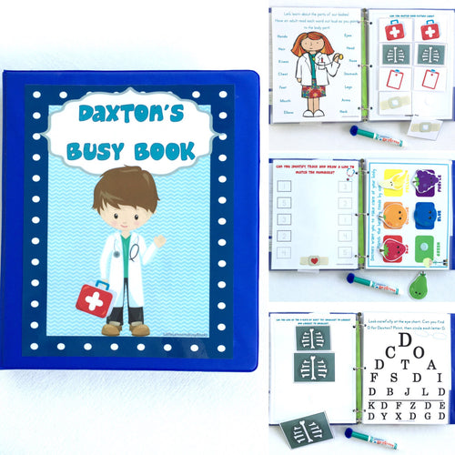 Doctor Toddler Dry Erase  Activity Book, Personalized Busy Book, Quiet Book, Busy Bags, Educational Toy, custom skills, travel games