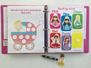 Princess/Babies Toddler Custom Dry Erase  Activity Book, Personalized Busy Book, Quiet Book, Educational, age 1-4 years, travel games