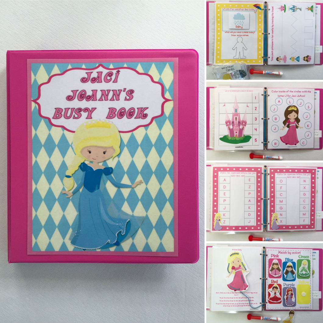 Preschool Princess Busy Book, Quiet Book, Dry-erase  Activity Book, Travel Games, Educational toy, Teacher made, Personalized, gift
