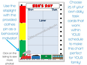 School Use, Train First/Then Chart, Daily schedule, customized, laminated chart, visual schedule, stoplight behavioral chart, therapists