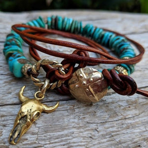 Turquoise leather wrap bracelet necklace with gold bronze cow skull and button, by Aurora Creative Jewellery
