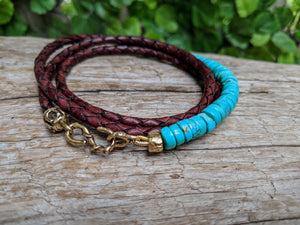 Turquoise & Brown Leather Wrap Bracelet - Unisex