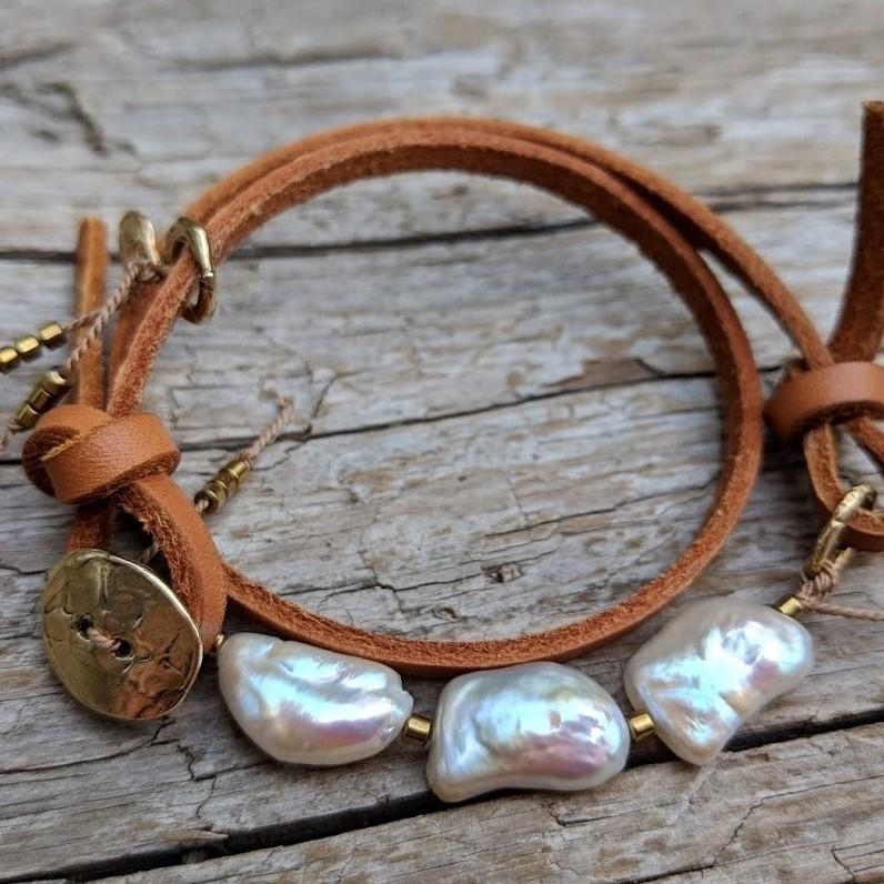 Pearl Leather wrap bracelet with heart charm and button by Aurora Creative Jewellery