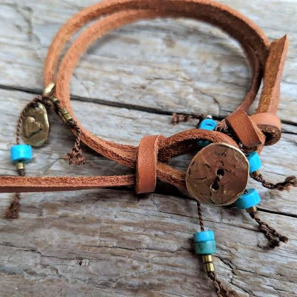 Turquoise brown leatherwrap bracelet with heart charm and button by Aurora Creative Jewellery