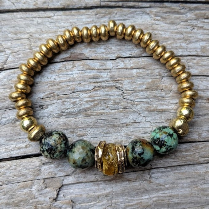 Handmade Amber & African Turquoise Gemstone Forest Green Earthy Elastic Bracelet by Aurora Creative Jewellery