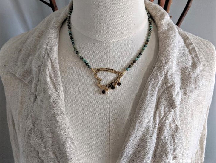 African turquoise and garnet necklace with asymmetric heart pendant with pearls and garnet by Aurora Creative Jewellery