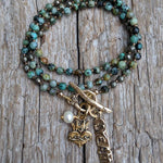 Handmade African Turquoise dream necklace bracelet two in one by Aurora Creative Jewellery