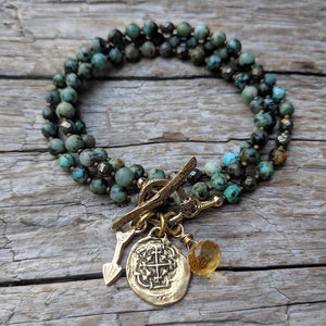 Handmade African Turquoise Gemstone wrap bracelet necklace 2in1 with rustic Spanish coin reproduction charm by Aurora Creative Jewellery