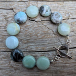 Light blue and gray amazonite stone silver toggle bracelet, by Aurora Creative Jewellery