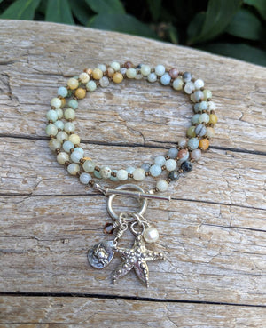 Handmade one-of-a-kind amazonite gemstone ocean necklace or triple wrap bracelet with starfish and crab charm pendants.