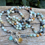 Long light blue and gray amazonite stone necklace with silver turtle, citrine, chalcedony, by Aurora Creative Jewellery