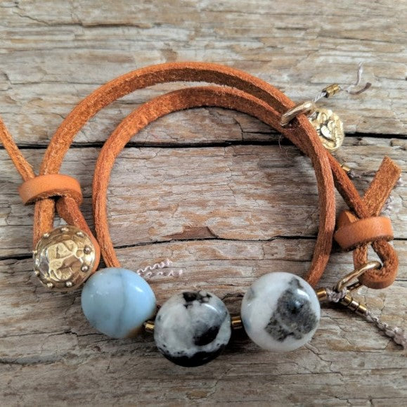 Amazonite leather wrap bracelet with heart charm and button by Aurora Creative Jewellery