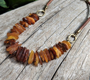 Raw Baltic Amber Chip & Leather Necklace