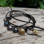 Boho Natural Black Baroque Pearl Leather Wrap Bracelet