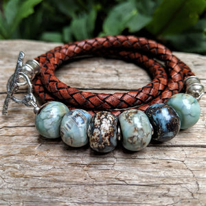 Handmade artisan large blue agate and genuine leather wrap bracelet with sterling silver toggle by Aurora Creative Jewellery