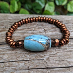 Blue agate gemstone bracelet with antique copper metal by Aurora Creative Jewellery
