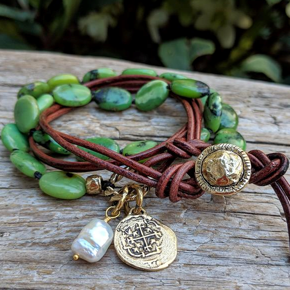 Forest green chrysoprase leather wrap bracelet necklace with freshwater pearl and Spanish coin charm, by Aurora Creative Jewellery