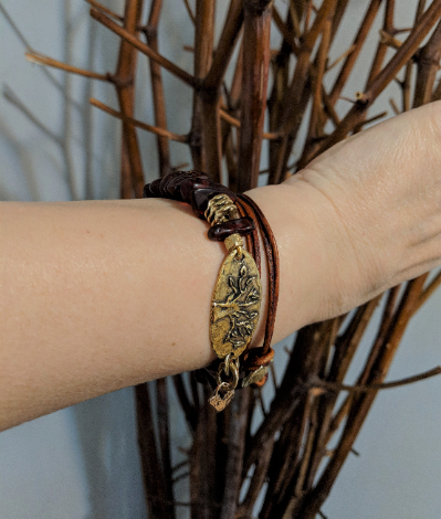 Baltic Amber & Tree Leather Wrap Bracelet
