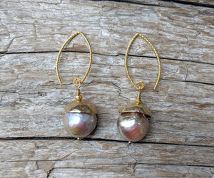 Gorgeous handmade artisan pink Edison pearl dangle earrings with gold bronze caps by Aurora Creative Jewellery