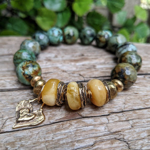 Polished Baltic Amber & African Turquoise Forest Green Earthy Elastic Bracelet