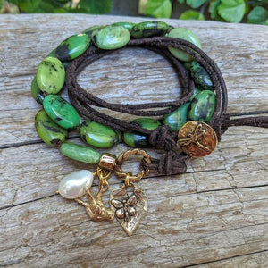 Handmade artisan chrysoprase gemstone wrap bracelet with bird and butterfly heart charms by Aurora Creative Jewellery