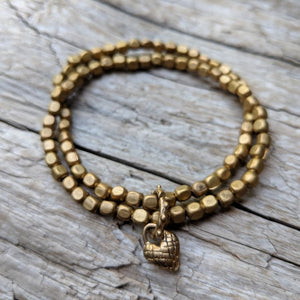 African Brass Elastic Double Bracelet with Heart Charm