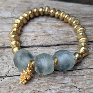 Gray and gold glass bracelet with gold pine cone charm by Aurora Creative Jewellery