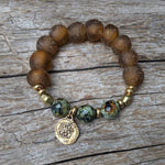 Handmade African Turquoise Gemstone & Brown Recycled Glass Spanish Coin Elastic Bracelet by Aurora Creative Jewellery