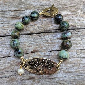 African turquoise and pearl tree of life bracelet by Aurora Creative Jewellery