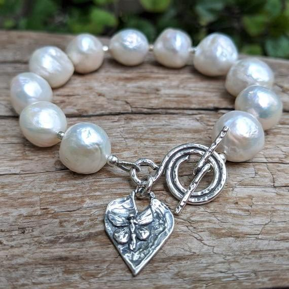 Large white Edison pearl bracelet with sterling silver toggle and heart charm by Aurora Creative Jewellery