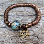 Blue Agate Gemstone, Flower Charm & Antique Copper Elastic Bracelet