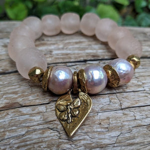 Three Pink Pearls & Recycled Glass Elastic Bracelet with Heart Charm