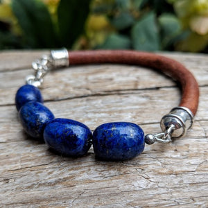 Large lapis lazuli leather bracelet with sterling silver (for men), by Aurora Creative Jewellery