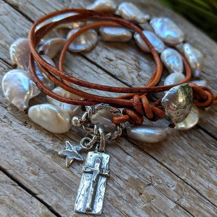 Large pearl leather wrap bracelet-necklace with silver cross charm by Aurora Creative Jewellery