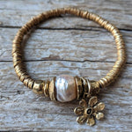 Handmad artisan large pink pearl and gold flower stacking elastic bracelet by Aurora Creative Jewellery